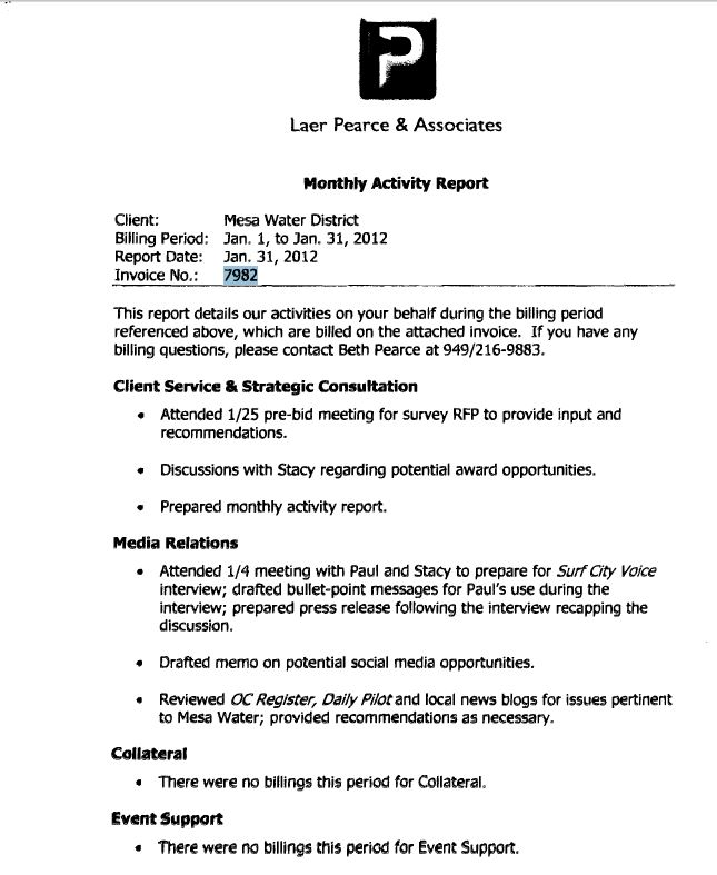 Laer Pearce Associates invoice report